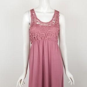 NWT Altar'd State Mauve Pink Boho Lace Maxi Dress